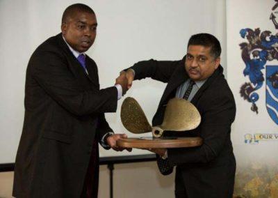 Ian Hlongwane 2014 Winner of the Safmarine Floating Trophy with Sponsor Roy Ramdiyal MICS