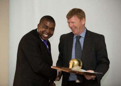 Ian Hlongwane, OSI Winner with Sponsor Sturrock Grindrod Offshore, Rob Gardner