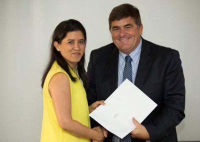 Tanya Henry, MI Winner with Sponsor Rennies Ships Agency, Jonathan Whittington